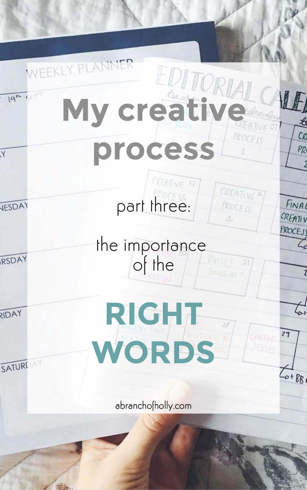 my creative process part three: the importance of the right words