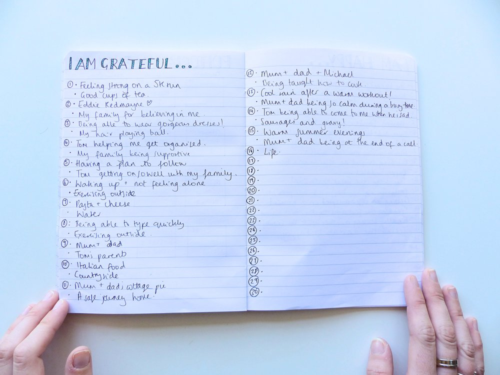 bullet journal grateful list