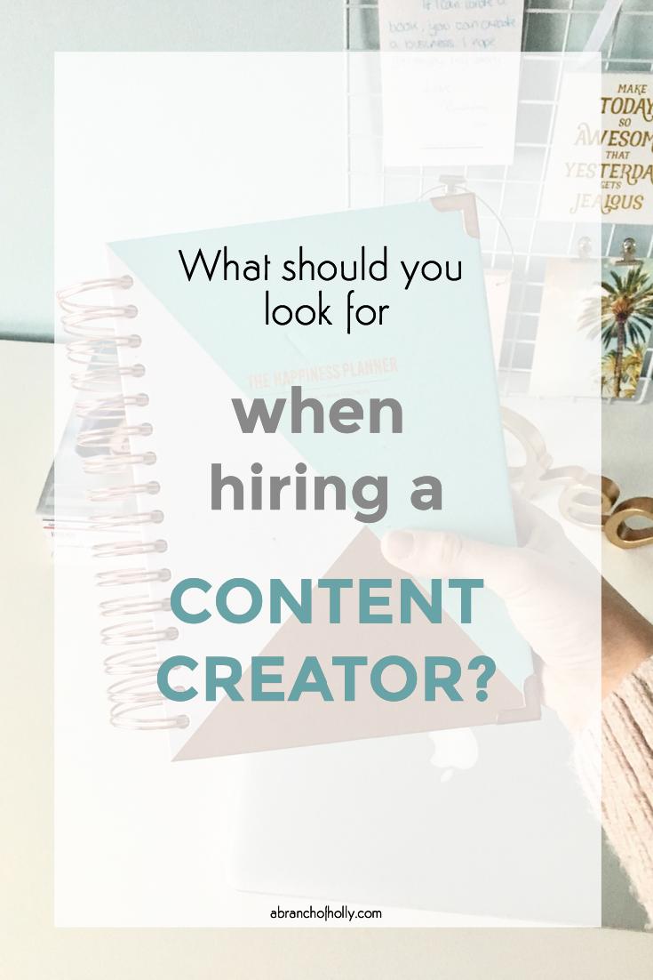 hiring a content creator