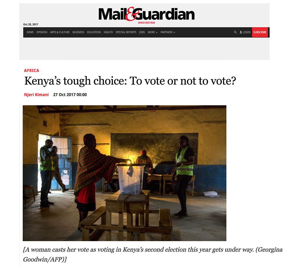 M&G: Kenya's tough choice Oct17 — Georgina Goodwin