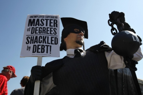 Gan Golan of Los Angeles protests student debt. Photo via Washington Post
