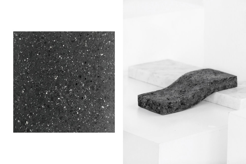 """Inspired by the emblematic basaltic stone, better known as """"lava stone"""", we developed MAGMA 04 ®; A liquid stone material that enhances and defies the nature of stone.  This beautiful material looks and feels the same as lava stone. The formula is conceived in a semi-liquid state allowing the material to be casted in a mold to create complex, precise and fast production products. After casted you can cut it, perforate it and engrave it.  MAGMA 04® is an adaptable and evolving material. The formula adapts to the specifications needed by a product and industry. Applications include architecture (interiors and exterior tiles and mosaics) furniture, products and decor and others to discover."""