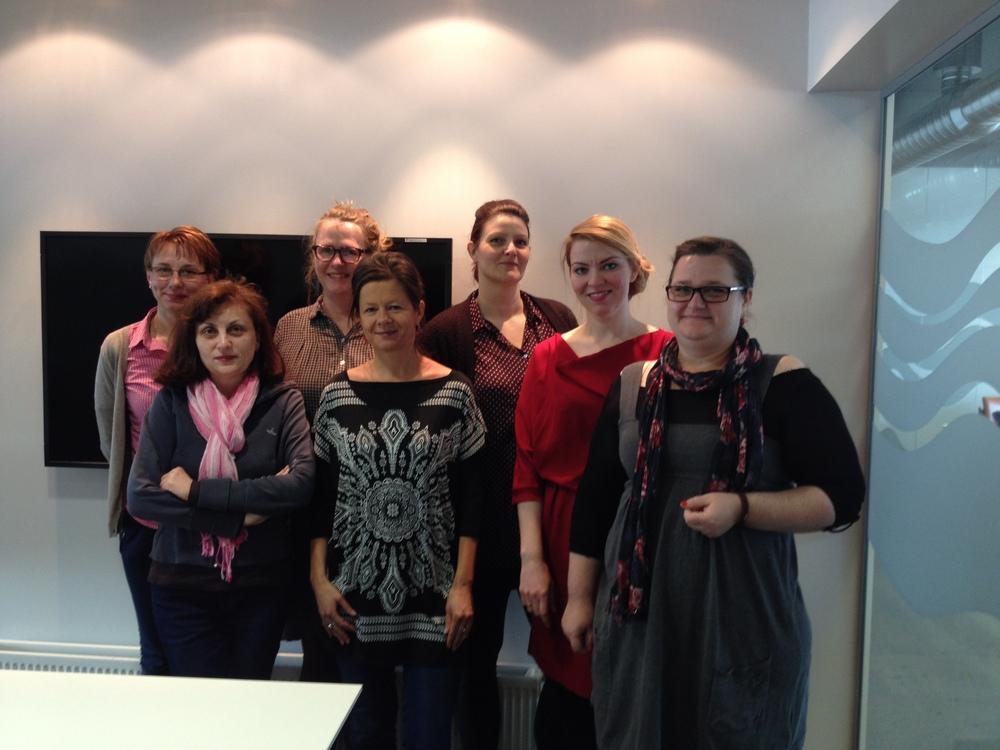 Anna Margrét Guðjónsdóttir, director of Evris with specialists Kristín R. Vilhjálmdóttir, Hólmfríður Ólafsdóttir, Auður Rán Þorgeirsdóttir and the staff of Slatina on their visit to Reykjavik.