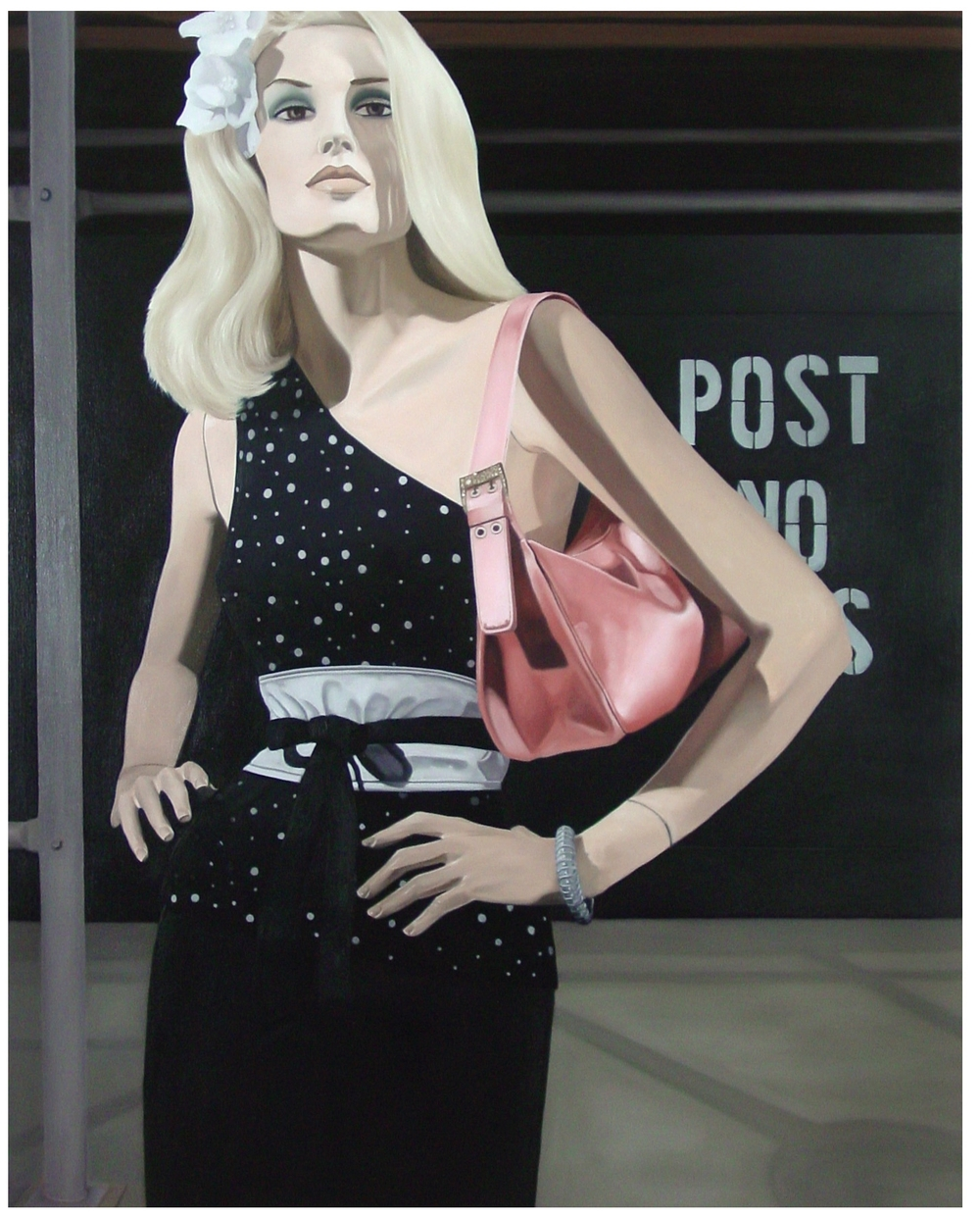 "Jane in "" Post No Bills ""  Oil on Canvas - 40 x 31in - 2005"