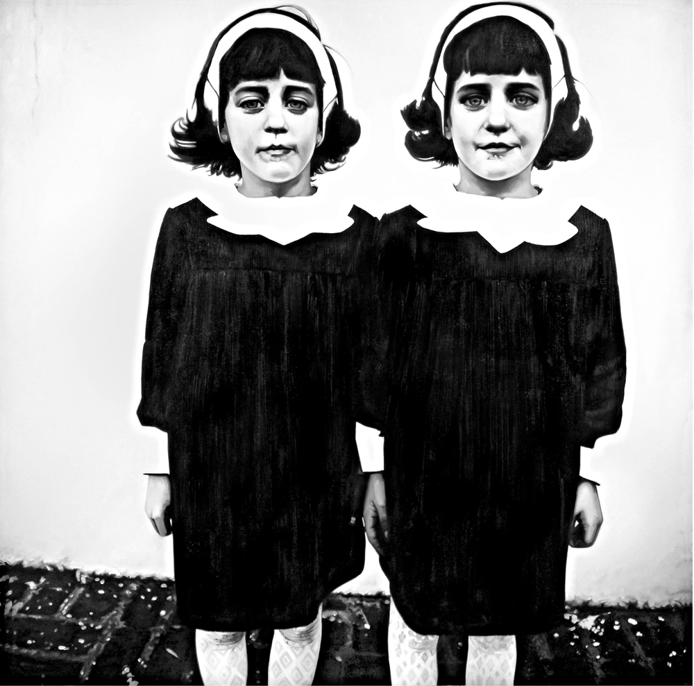 Twins ( Photo - Diane Arbus 1966 )  Oil On Canvas - 52 x 52 in - 2009
