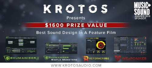 As part of their 2018 Music & Sound Awards sponsorship, Krotos Audio are offering sound designers the chance to win $1600 worth of their unique and innovative plugins - Dehumaniser 2 & Simple Monsters for making monster and creature sounds, Reformer Pro for performing any library of sound effects in real-time, and Weaponiser Fully Loaded for creating your own weapon sounds.
