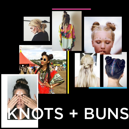 We've been seeing A LOT of top knots and buns this summer! Why? Because they're super easy to do andthey look crazy cute (and they hide your greasy hair... Perfect for festivals!). The double 90's knot has come back in style, simply divide your hair in two, twist each section, wrap around and tie! Top knots - grab the hair around your crown and do the same, twist and tie either on top or lower down your head. SWEET and DONE.