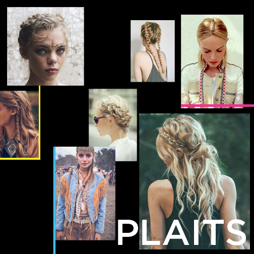 Who doesn't love a plait. Normal plaits, French plaits, side plaits, bunchie plaits, fishtail plait, plaits around your head etc. the list is pretty much endless. They are so great at festivals, your hair is so covered in dirt that it has fab texture, which makes it a lot easier to work with, so your plaits are going to look pretty cool! And when you take it out, you've got lush waves. You're welcome.