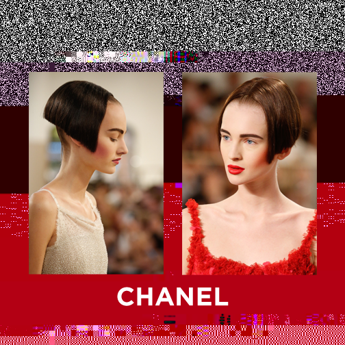 Kicking off with Chanel, make-up by Tom Pecheux and hair by the wonderful hair stylist Sam McKnight (and not forgetting about Karl Lagerfeld's input, too). Super short, kinda alien looking pushed-up blunt bob, with a thick brown, heavy blush and lips.