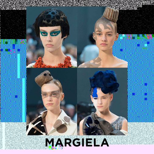 Oh Margiela, SUCH A DREAM! Pat McGrath back on the scene, creating magical make-up looks (favourite is the top right shadows look), and oh my! The hair, it's looks like the texture and flexibility of felt! Also, can we make polka dot hair a thing?