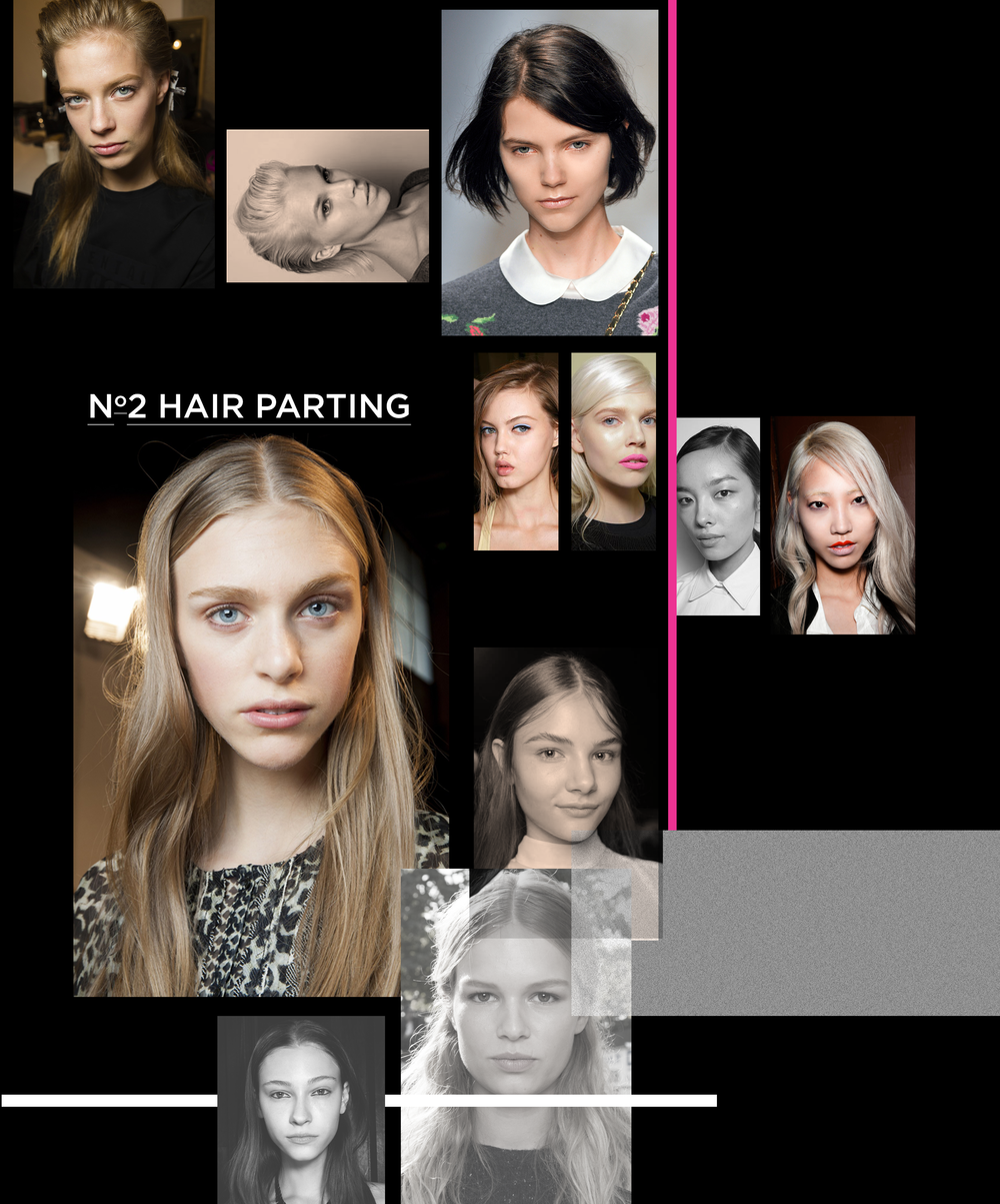 Side-swept hair is sometimes super-sleek and classy and other times looking uber-carefree and cool.That being said, the fashion favourite centre parting is staying strong for SS15, from elegant down-dos to relaxed low ponytails, SIMPLICITY IS KEY.