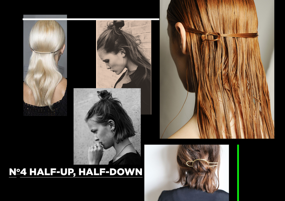 If you're feeling pretty minimalistic, go for Celine style, maybe using simple metallic hair accessories. For a bit of a boyish ease, go for a tufty top-knot, and pull a few strands loose.