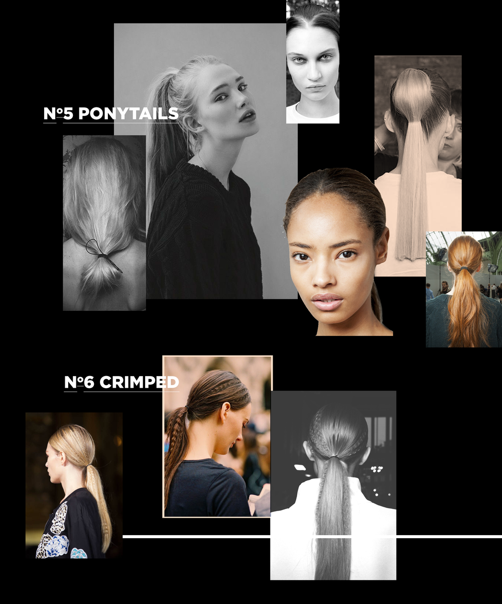 Ponytails have been reinvented, revitalised and refreshed for this season! Whether you have long, medium-length or short locks, go for a high ponytail for an effortless effect or a low ponytail for elegance, add a touch of Stella McCartney's 90's style crimps and you're on your way!