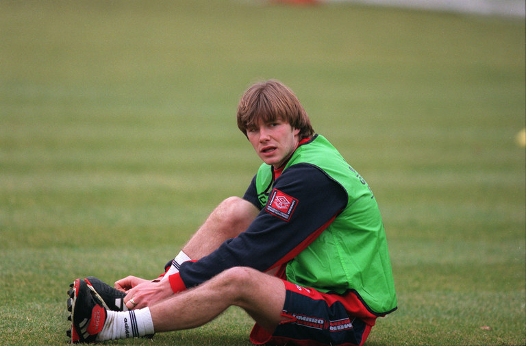 "David Beckham training with England in 1997, shortly before meeting Victoria ""Posh"" Adams. Getty Images"