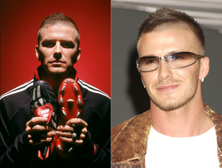 From left: Phelan's first time working with Beckham in a commercial for Adidas; Beckham launches the new line of Police sunglasses in another commercial from around the same time. Getty Images