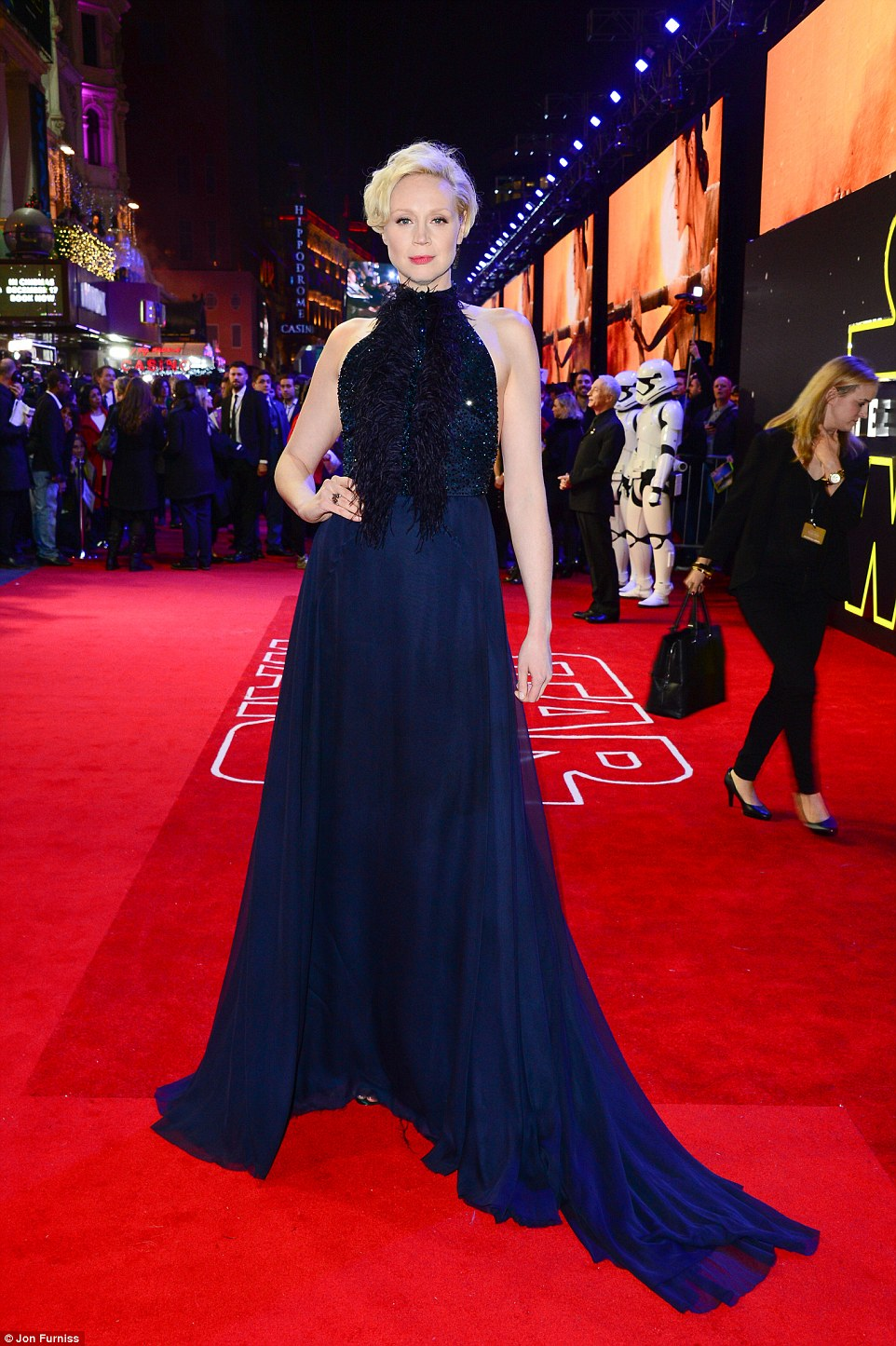 Gwendoline Christie in another dark and sparkly gown. We LOVE her.