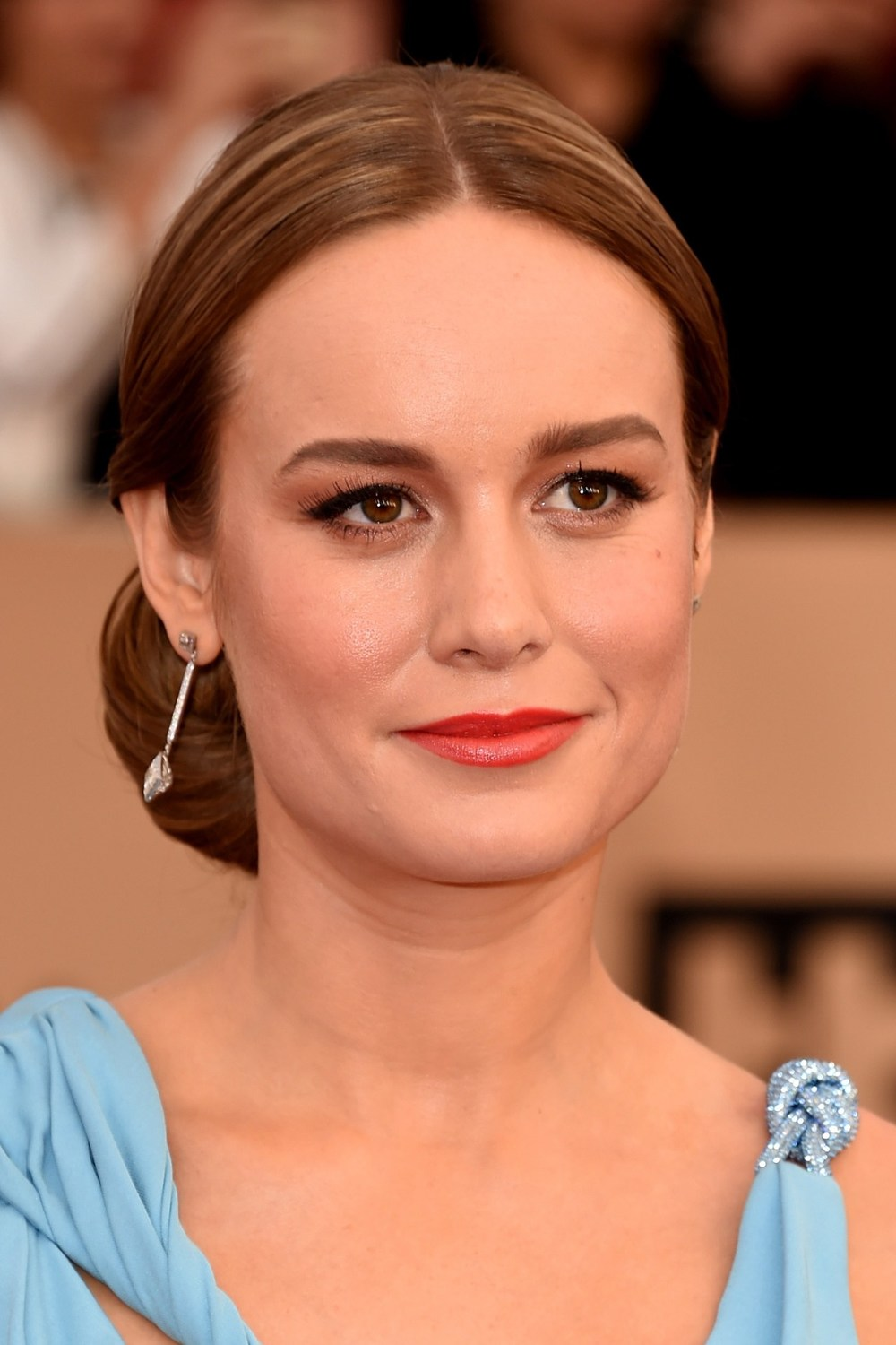 Brie Larson, who won the award for Outstanding Performance by a Female Actor in a Leading Role for Room, showed off flawless red-carpet elegance with a bold tomato lip, perfectly defined eyes and the very sleekest of chignons.