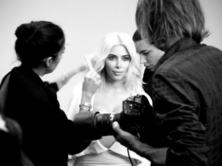 Jen Atkin on set with Kim Kardashian
