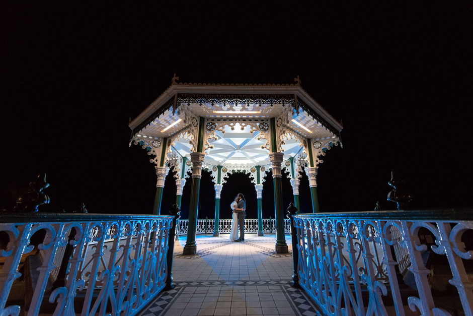 Night time brighton band stand wedding photo