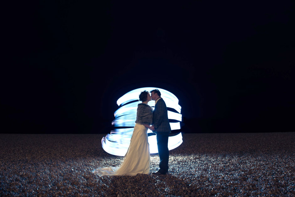wedding light painting on brighton beach