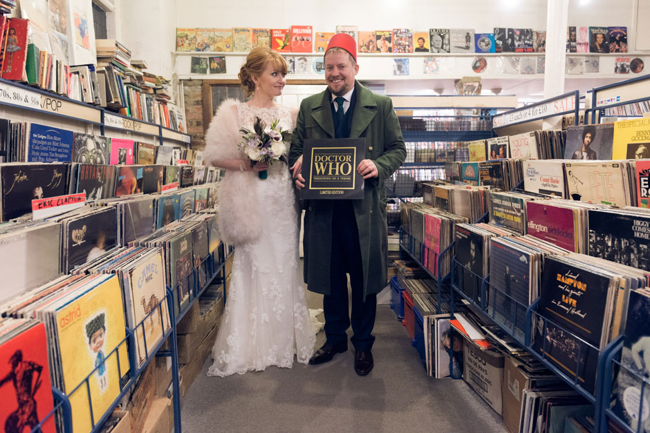 A dr who fan and his bride in a vintage record shop
