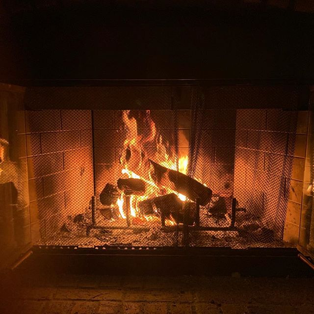 Chilly night in Florida = light up the fireplace 