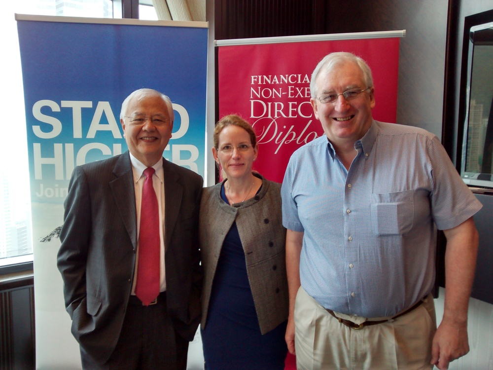 Roger King, Diana David, Murray Steele - FT NED Club Family Boards Breakfast - 17 April 2014.jpg