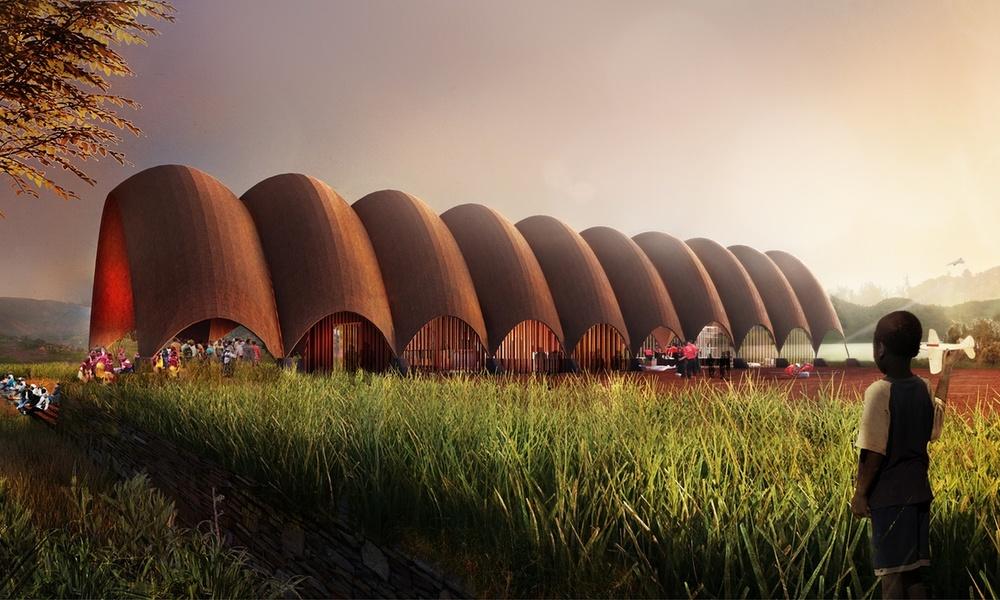 Foster's Droneport in Rawanda (Rendering: Foster+Partners)