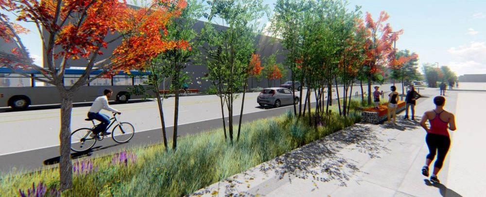Improvements include: landscaping with 400+ trees, bike lanes and 2.6 miles of added sidewalk. - City & County of Denver