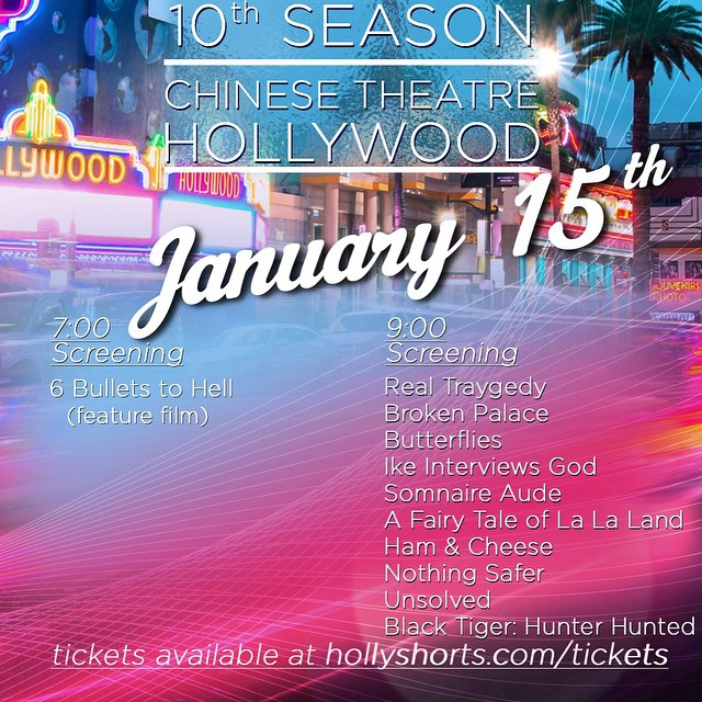 We will be @chinesetheatres on January 15 for our #MonthlyScreeningSeries check out all of our shorts and times tickets here:   www.hollyshorts.com/tickets