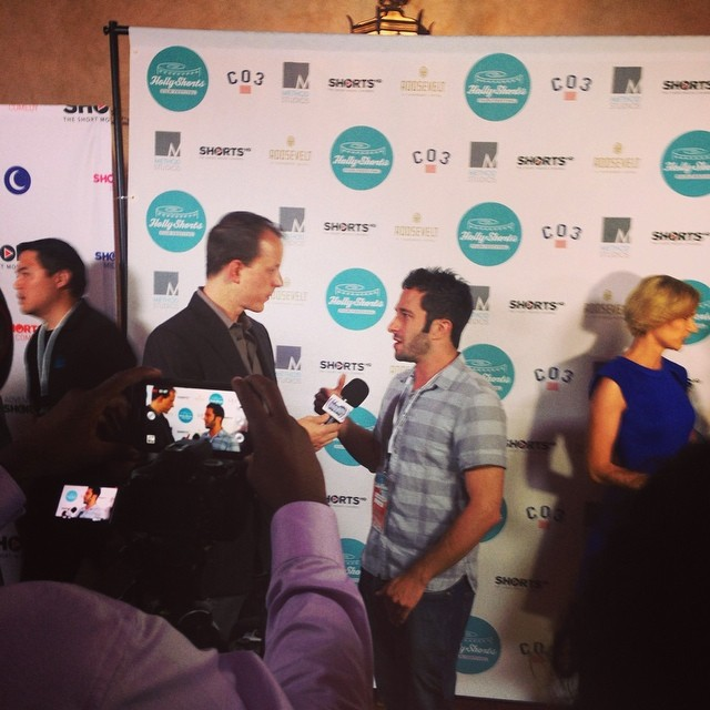 Aaron Wolf with Howling Wolf Productions joins us on the red carpet #hsff2014