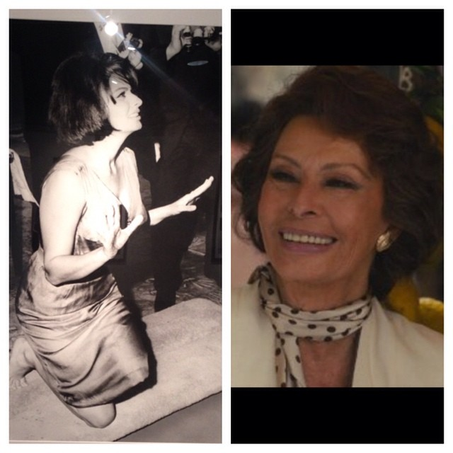 Sophia Loren at the Chinese Theatre in 1962 and again on screen 2014 for her son Edoardo Ponti's short 'Human Voice' #TimelessClassic #Gorgeous #OscarWinner #hsff2014 #OpeningNight