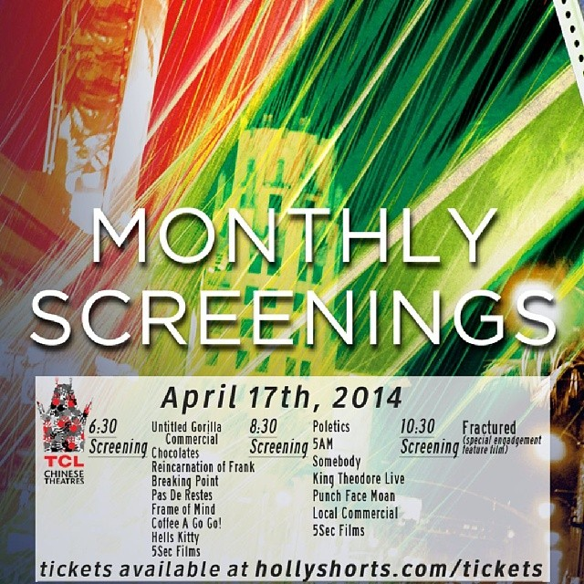 #hollyshorts April17 #monthlyscreening @chinesetheatres   @mypetspossessed @fractured @5sf @poletics