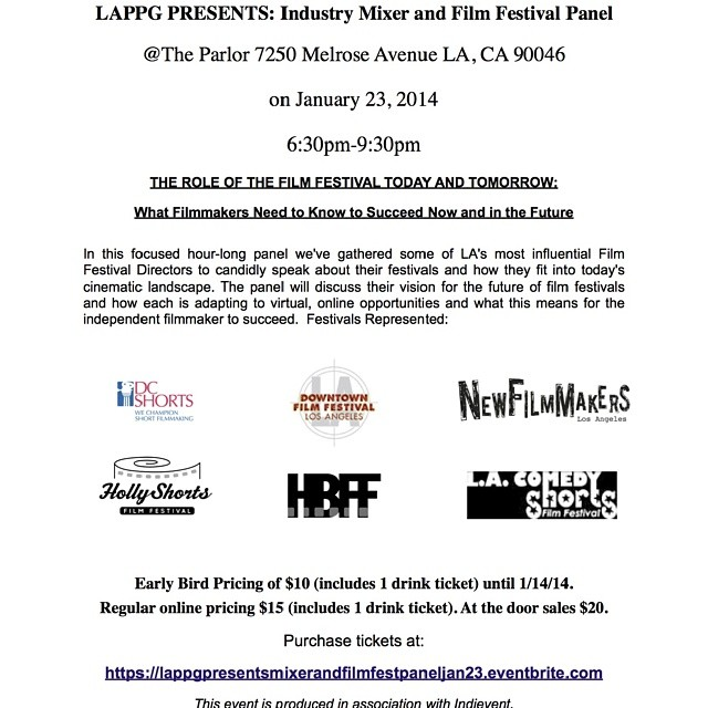 @Lappg @dcshorts @hollyshorts @hbff @lacomedy #ff #panel Jan 23rd @parlor 8pm get your tickets now!
