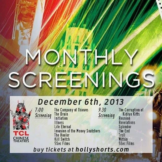 Dec 6th tickets on sale now!     Hollyshorts.con/store    Drink and food specials at Solo Tapas and after party at Tinhorn Flats!