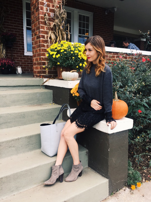{ The last few days of sweater dresses sans tights. Outfit details  here . }