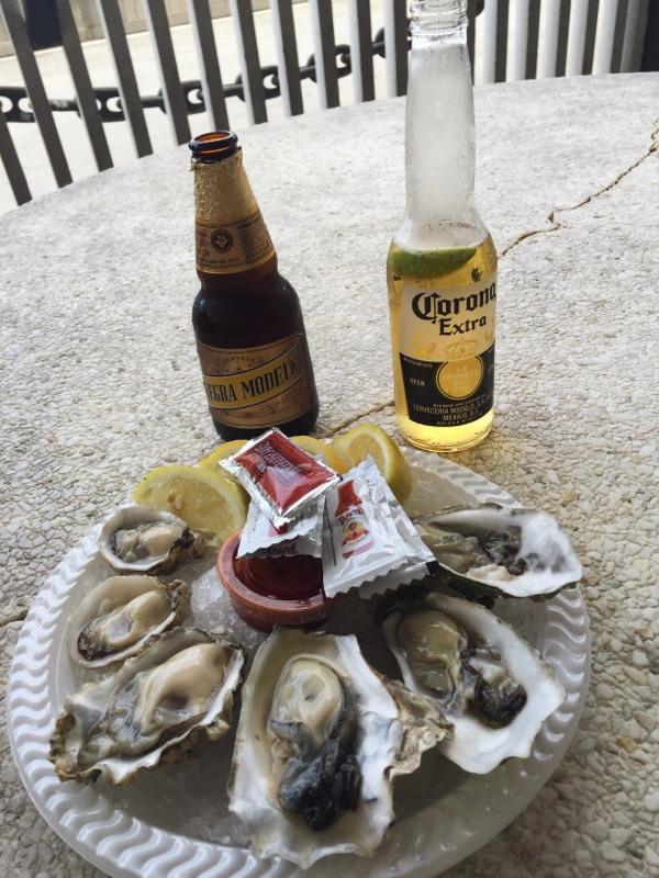 { Fresh oysters at Redondo Beach. Corona and Negra Modelo were necessary. }