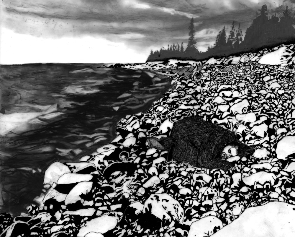Escape To Ocean. Ink and charcoal on frosted mylar. 2010.