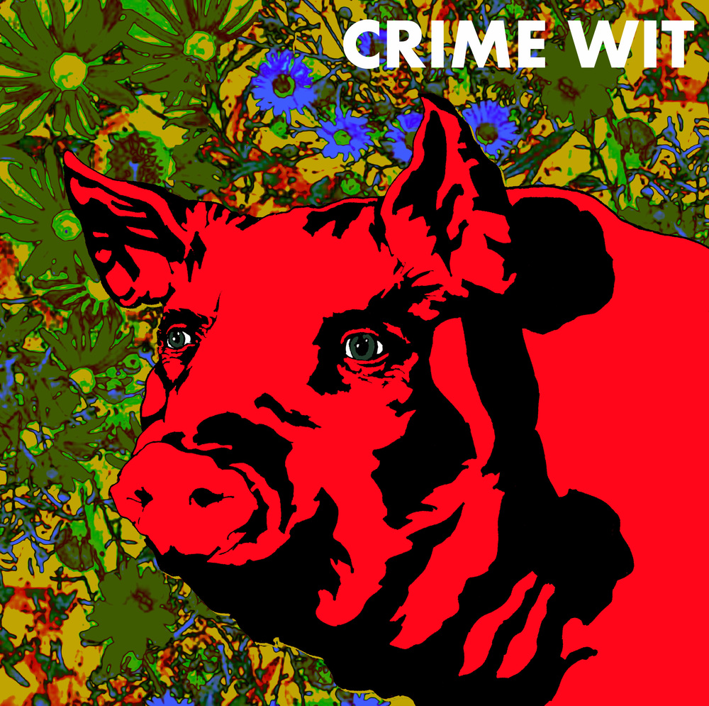Crime Wit album art. Ink drawing and collage, Photoshop design. 2014.