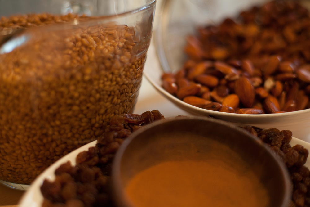 The four basic ingredients:  Red hard winter wheat berries, almonds, raisins and cinnamon.