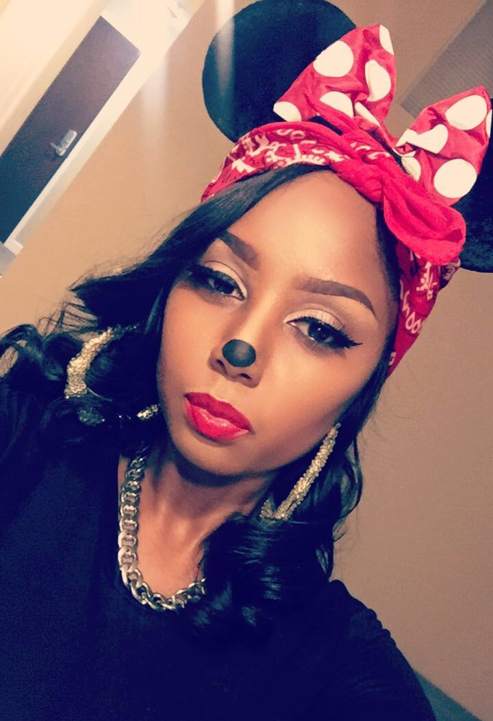 "Halloween Fun - JayChantelle is wearing Giorgio Armani Lip Maestro number 400 as ""Gangsta Minnie Mouse""."
