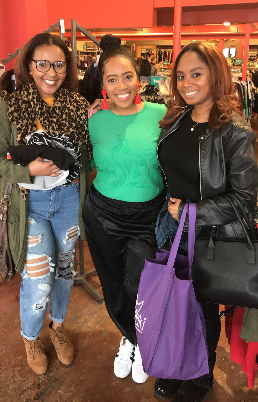 Megs' Thrift Tour at  Buffalo Exchange . Pictured from left: Michaela Carter of  A Dash of Michaela , Meyhgin Harrington of  Meeting with Megs , and JayChantelle (me).