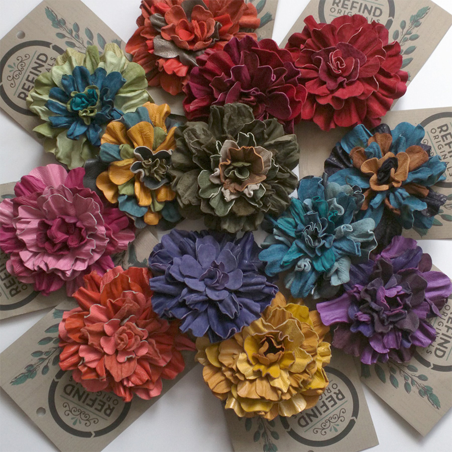 Leather Flower Brooch In Varying Colors Recycled Leather Refind