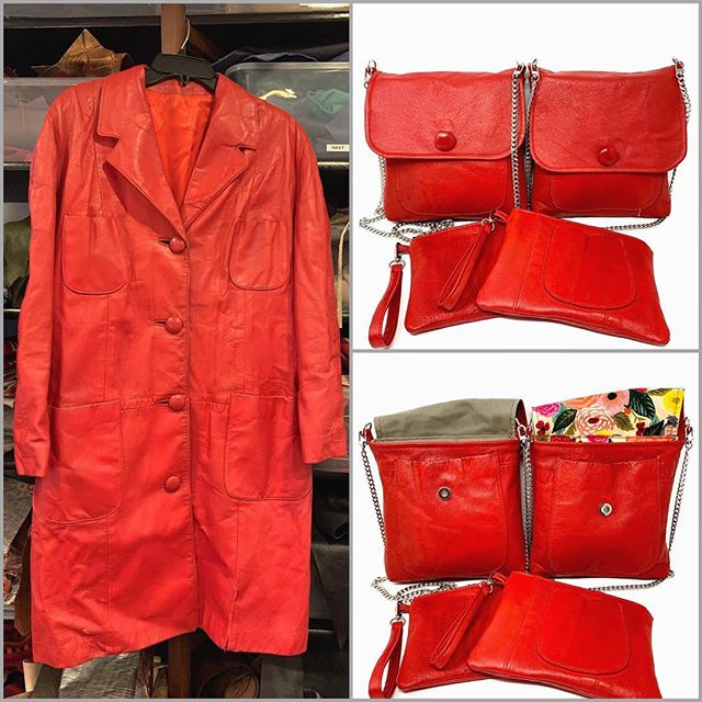 New life for a special leather coat. Almost any preloved coat or jacket can be remade into something useful and beautiful. #keepsakebag #recycleart #handmadeleatherbags#indianaartisanmarketplace #madeinindiana #reuserecycle