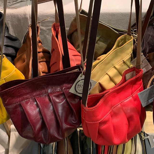 Light brights for Spring! All available this weekend at Indiana Artisan Marketplace. 10-6 Saturday and 10-5 Sunday at the Indiana State Fairgrounds. #indianaartisanmarketplace #repurposedleather #handmadeleatherbag