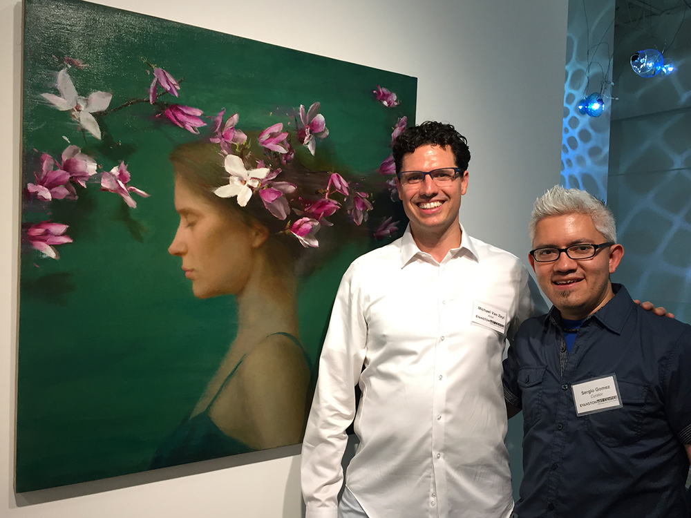 "With curator Sergio Gomez at the Opening Reception of ""Hybrid's Paradise"". ""The Day the Magnolia Bloomed"", Oil on Linen, 40x40 inches"