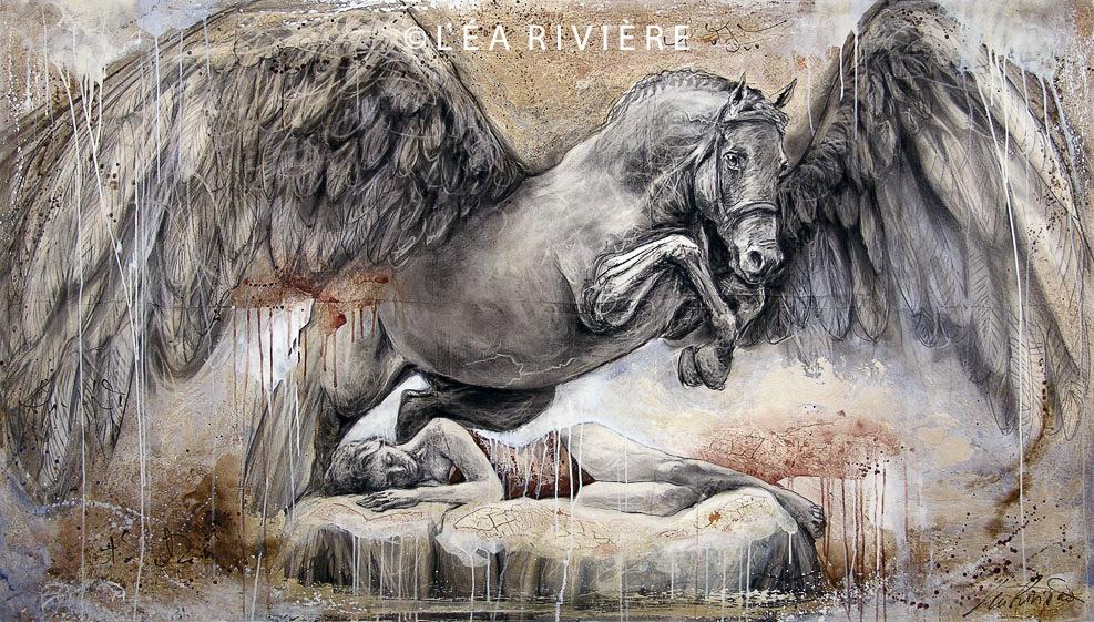 """©LéaRivière «La voûte ailée»  48""""x84"""" 122cmx213cm 2009"""