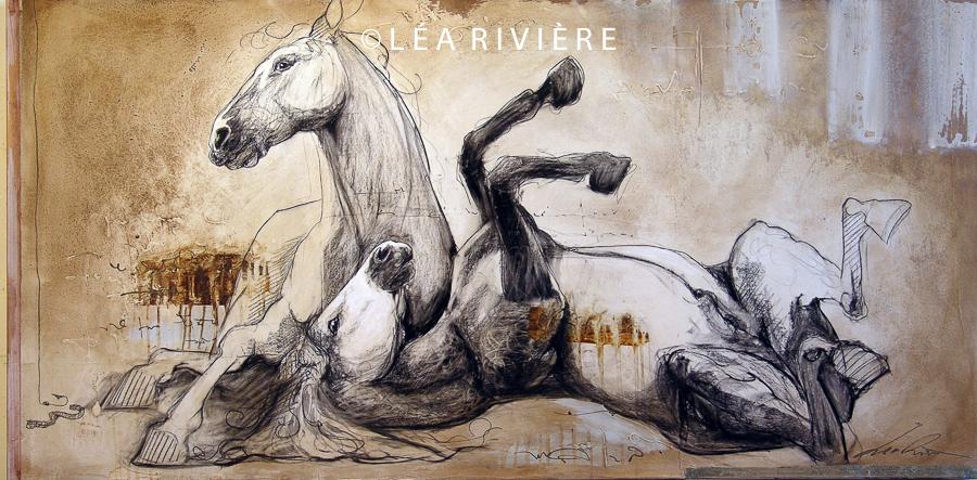 """©LéaRivière «Dans l'herbe folle» 30""""x60"""" 76cmx152cm 2012"""