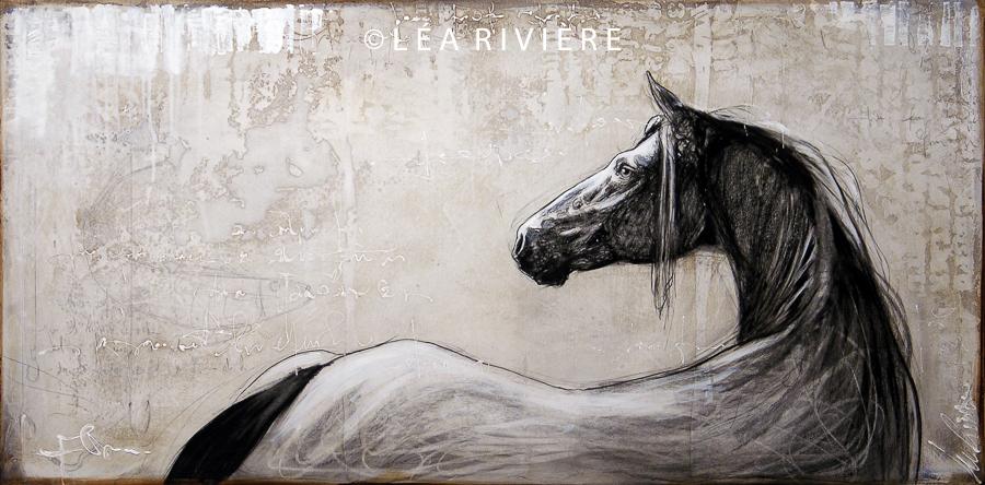 """©LéaRivière «Nouveaux horizons» 24""""x48"""" 60cmx122cm 2012"""
