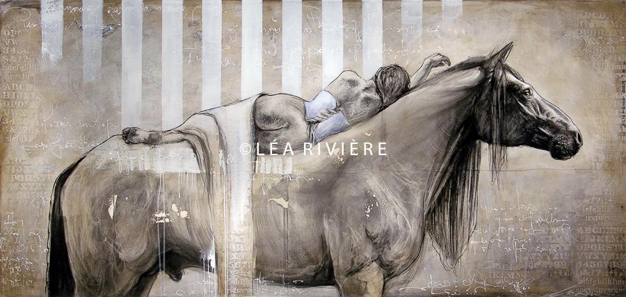 """©LéaRivière «Souvent la nuit»  40""""x84"""" 102cmx213cm 2012"""